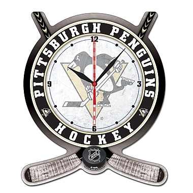 Wincraft NHL Plaque Wall Clock; Pittsburgh Penguins