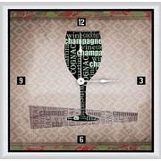 Green Leaf Art Wine Glass 16'' Art Wall Clock