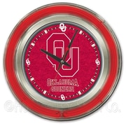 Holland Bar Stool NCAA 15'' Double Neon Ring Logo Wall Clock; Oklahoma