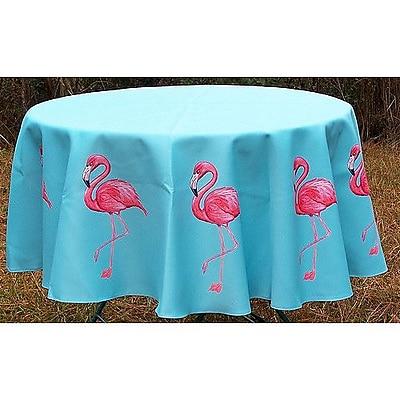 Betsy Drake Interiors Flamingo Round Tablecloth; 68'' W Round