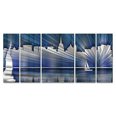 All My Walls New York City Skyline by Ash Carl 5 Piece Graphic Art Plaque Set; Cool