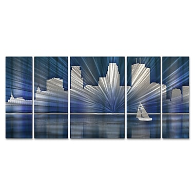 All My Walls Minneapolis Skyline by Ash Carl 5 Piece Graphic Art Plaque Set; Cool