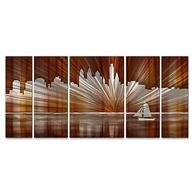 All My Walls Philadelphia Skyline by Ash Carl 5 Piece Graphic Art Plaque Set; Warm