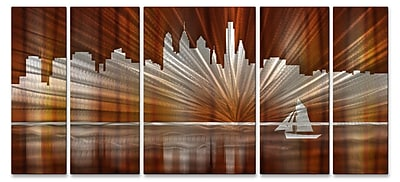 All My Walls Philadelphia Skyline by Ash Carl 5 Piece Graphic Art Plaque Set; Warm