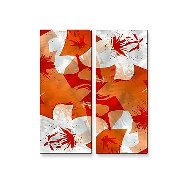 All My Walls 'Orange Lilies' by Ruth Palmer 2 Piece Painting Print Plaque Set