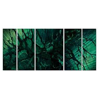 All My Walls 'Emerald Envy' by Michael Lang 5 Piece Graphic Art Plaque Set