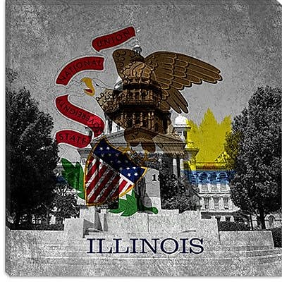 iCanvas Illinois Flag, Capitol Building w/ Grunge Graphic Art on Canvas; 37'' H x 37'' W x 1.5'' D