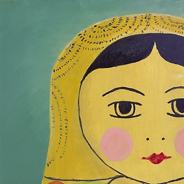 emma at home by Emma Gardner Matryoshka Tiny Face Giclee Painting Print on Wrapped Canvas; 6'' x 6''