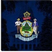 iCanvas Maine Flag, Capitol Building Grunge Graphic Art on Canvas; 18'' H x 18'' W x 1.5'' D