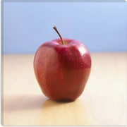 iCanvas Red Apple on Wood Desk Photographic Print on Canvas; 37'' H x 37'' W x 1.5'' D