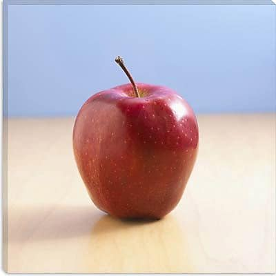 iCanvas Red Apple on Wood Desk Photographic Print on Canvas; 26'' H x 26'' W x 1.5'' D