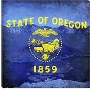 iCanvas Oregon Flag, Oregon Crater Lake w/ Grunge Graphic Art on Canvas; 18'' H x 18'' W x 1.5'' D