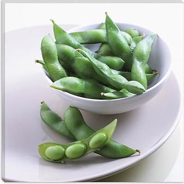 iCanvas Food and Cuisine Pea Pods on a Plate Photographic Print on Canvas; 12'' H x 12'' W x 1.5'' D
