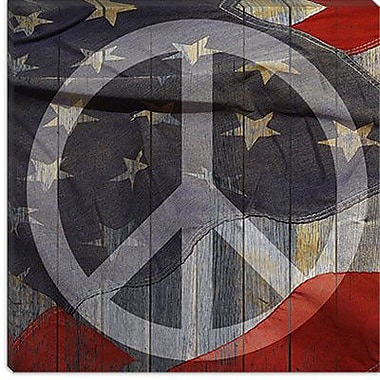 iCanvas USA Flag Peace Sign, Boards Graphic Art on Canvas; 12'' H x 12'' W x 0.75'' D