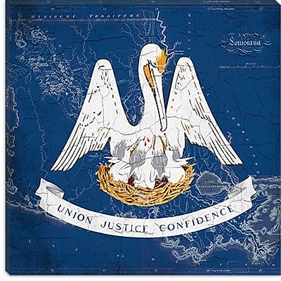 iCanvas Louisiana Flag, Grunge Vintage Map Graphic Art on Canvas; 37'' H x 37'' W x 1.5'' D