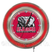 Holland Bar Stool NCAA 15'' Double Neon Ring Logo Wall Clock; Alabama-Elephant