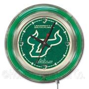 Holland Bar Stool NCAA 15'' Double Neon Ring Logo Wall Clock; South Florida