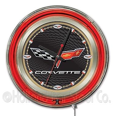 Holland Bar Stool Corvette - C6 15'' Double Neon Ring Logo Wall Clock; Black / Gold