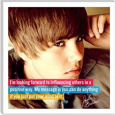 iCanvas Justin Bieber Quote Canvas Graphic Art on Canvas; 26'' H x 26'' W x 1.5'' D