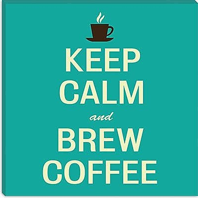 iCanvas Keep Calm and Brew Coffee II Textual Art on Canvas; 18'' H x 18'' W x 1.5'' D