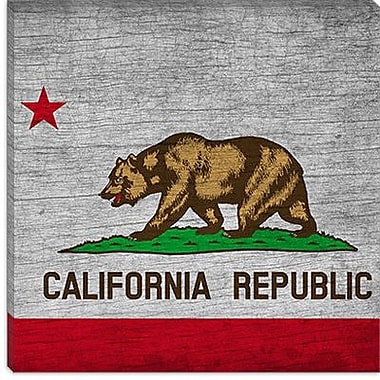 iCanvas California Flag, Square Grunge Vintage Advertisement on Canvas; 37'' H x 37'' W x 1.5'' D