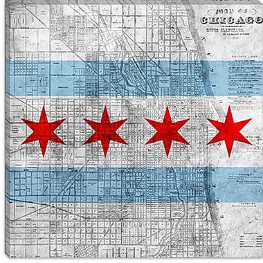 iCanvas Chicago Flag, Map Graphic Art on Canvas; 26'' H x 26'' W x 0.75'' D