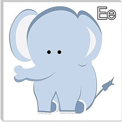 iCanvas Kids Art E is for Elephant Graphic Canvas Wall Art; 26'' H x 26'' W x 1.5'' D