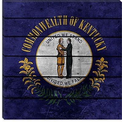 iCanvas Kentucky Flag, Wood Planks Graphic Art on Canvas; 18'' H x 18'' W x 0.75'' D