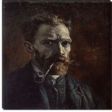 iCanvas ''Self-Portrait w/ Pipe'' by Vincent Van Gogh Painting Print on Wrapped Canvas