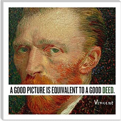 iCanvas Vincent Van Gogh Quote Painting Print on Wrapped Canvas; 12'' H x 12'' W x 0.75'' D