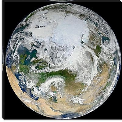 iCanvas Astronomy and Space Marble Arctic View Graphic Art on Canvas; 12'' H x 12'' W x 1.5'' D