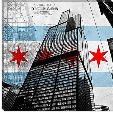 iCanvas Chicago Flag, Willis Tower (Sears Tower) w/ Map Graphic Art on Canvas