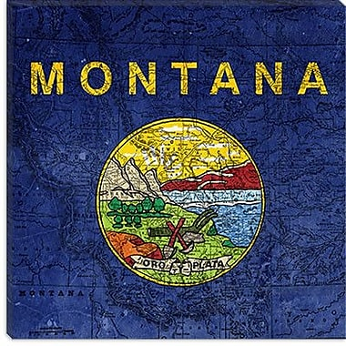 iCanvas Flags Montana Map Graphic Art on Canvas; 12'' H x 12'' W x 0.75'' D