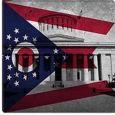 iCanvas Flags Ohio Capitol Building Graphic Art on Canvas; 12'' H x 12'' W x 0.75'' D