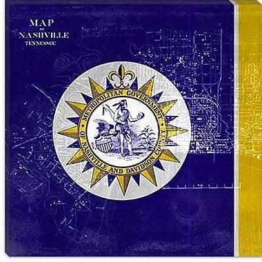 iCanvas Flags Nashville Map Graphic Art on Canvas; 26'' H x 26'' W x 0.75'' D