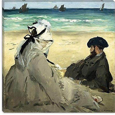 iCanvas ''On the Beach'' by Edouard Manet Painting Print on Canvas; 37'' H x 37'' W x 1.5'' D