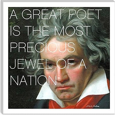 iCanvas Icons, Heroes and Legends Ludwig Van Beethoven Quote Photographic Print on Canvas