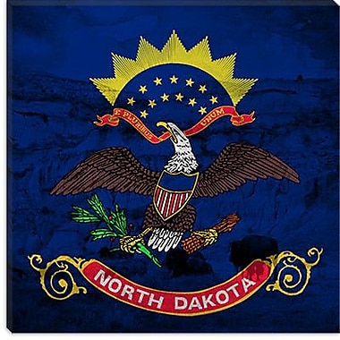 iCanvas North Dakota Flag, Bison Grunge Graphic Art on Canvas; 12'' H x 12'' W x 0.75'' D