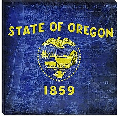 iCanvas Oregon Flag Map w/ Grunge Graphic Art on Canvas; 18'' H x 18'' W x 1.5'' D