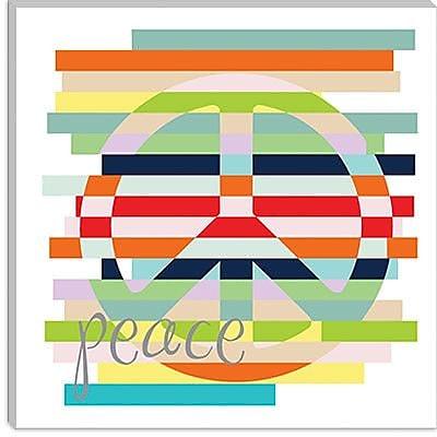 iCanvas ''Peace Rainbow'' by Erin Clark Graphic Art on Canvas; 18'' H x 18'' W x 0.75'' D