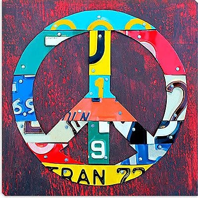 iCanvas ''Peace'' by David Bowman Graphic Art on Canvas; 37'' H x 37'' W x 1.5'' D