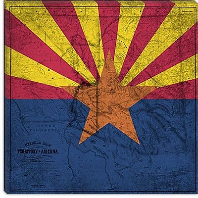 iCanvas Arizona Flag, Old Western Map Grunge Graphic Art on Canvas; 12'' H x 12'' W x 0.75'' D