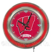 Holland Bar Stool NCAA 15'' Double Neon Ring Logo Wall Clock; Wisconsin ''W''