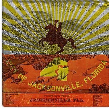 iCanvas Jacksonville Flag, Vintage Map Graphic Art on Canvas; 26'' H x 26'' W x 0.75'' D