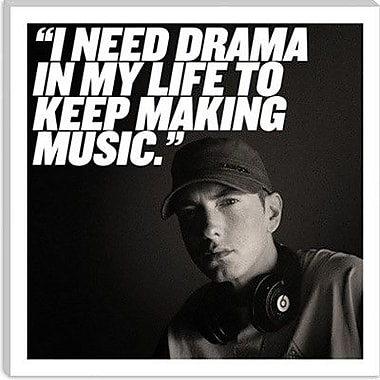 iCanvas Eminem Quote Photographic Print on Canvas; 12'' H x 12'' W x 0.75'' D