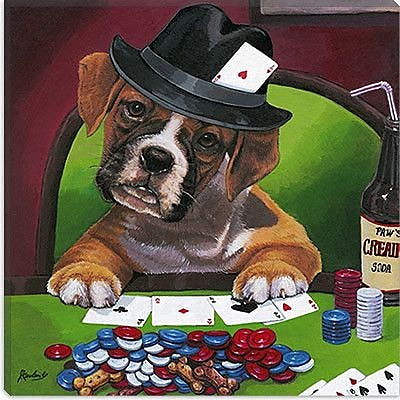 iCanvas Decorative Poker Dogs Jenny Newland Graphic Art on Canvas; 18'' H x 18'' W x 0.75'' D