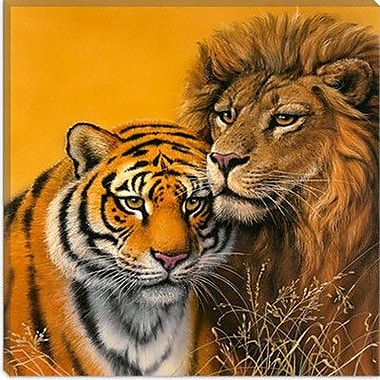 iCanvas ''Lion and Tiger'' by Harro Maass Graphic Art on Canvas; 12'' H x 12'' W x 0.75'' D