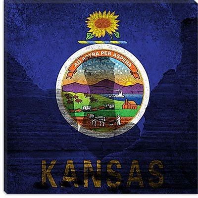 iCanvas Kansas Flag, Monument Rocks Graphic Art on Canvas; 26'' H x 26'' W x 1.5'' D