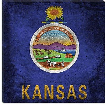 iCanvas Kansas Flag, Paper Grunge Graphic Art on Canvas; 18'' H x 18'' W x 1.5'' D