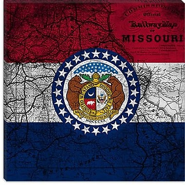 iCanvas Missouri Flag, Grunge Vintage Map Graphic Art on Canvas; 12'' H x 12'' W x 1.5'' D